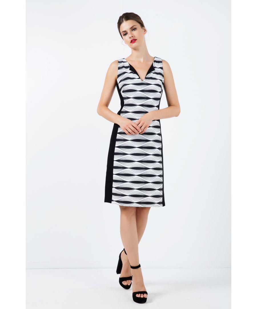 Image for Black and White Sleeveless Dress