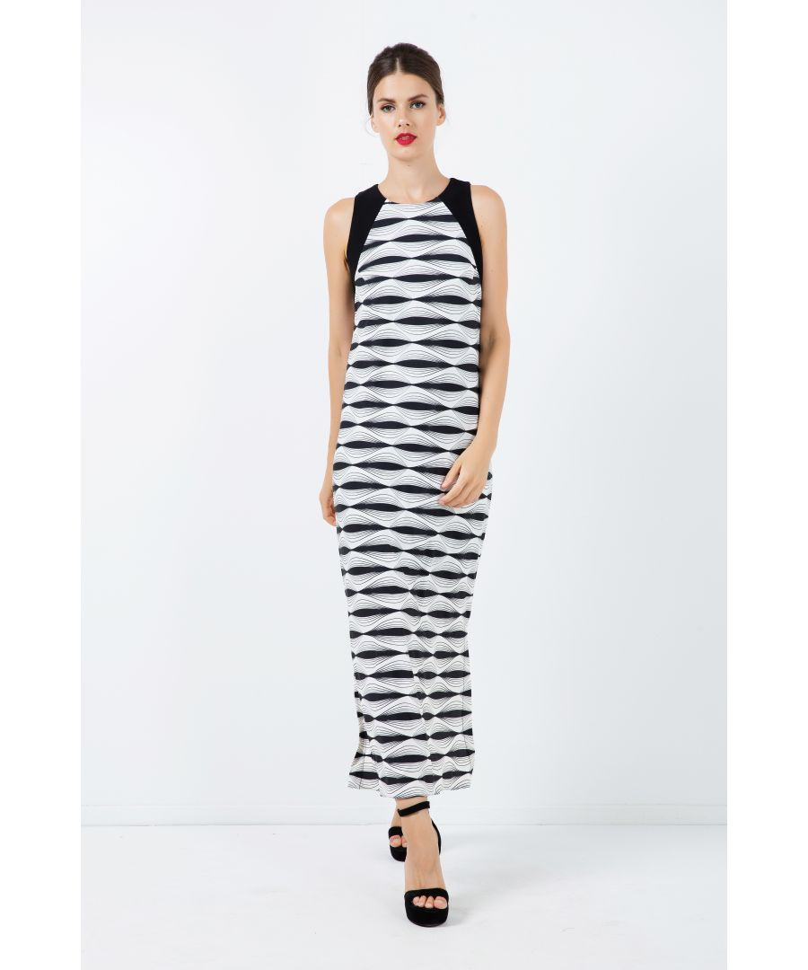 Image for Sleeveless Print Maxi Dress with Side Slits
