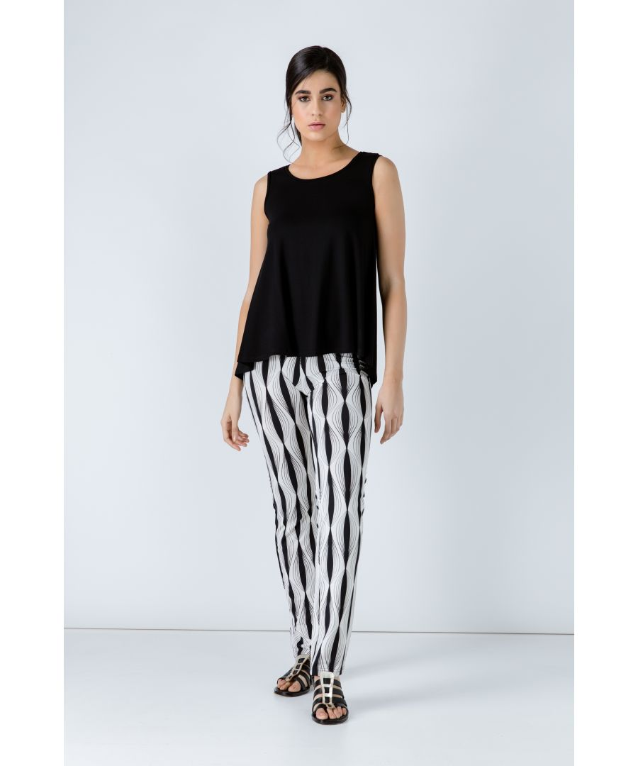 Image for Black and White Stretch Pants