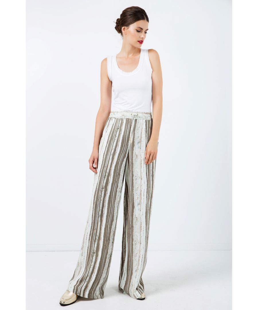 Image for Wide Leg Striped Pants with Drawstring Waist