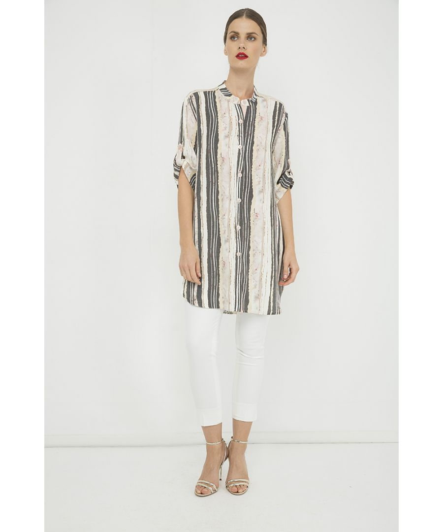 Image for Long Summer Shirt in Print Striped Fabric