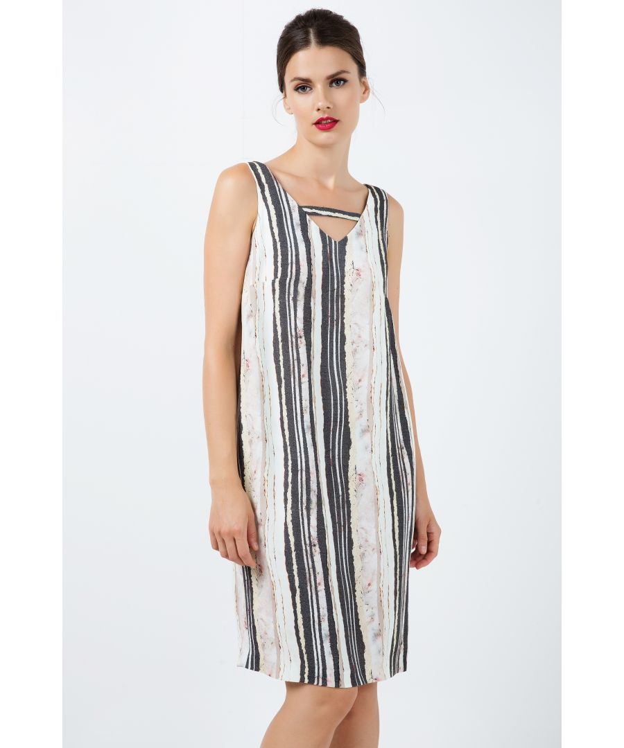 Image for Sleeveless Striped V Neck Dress