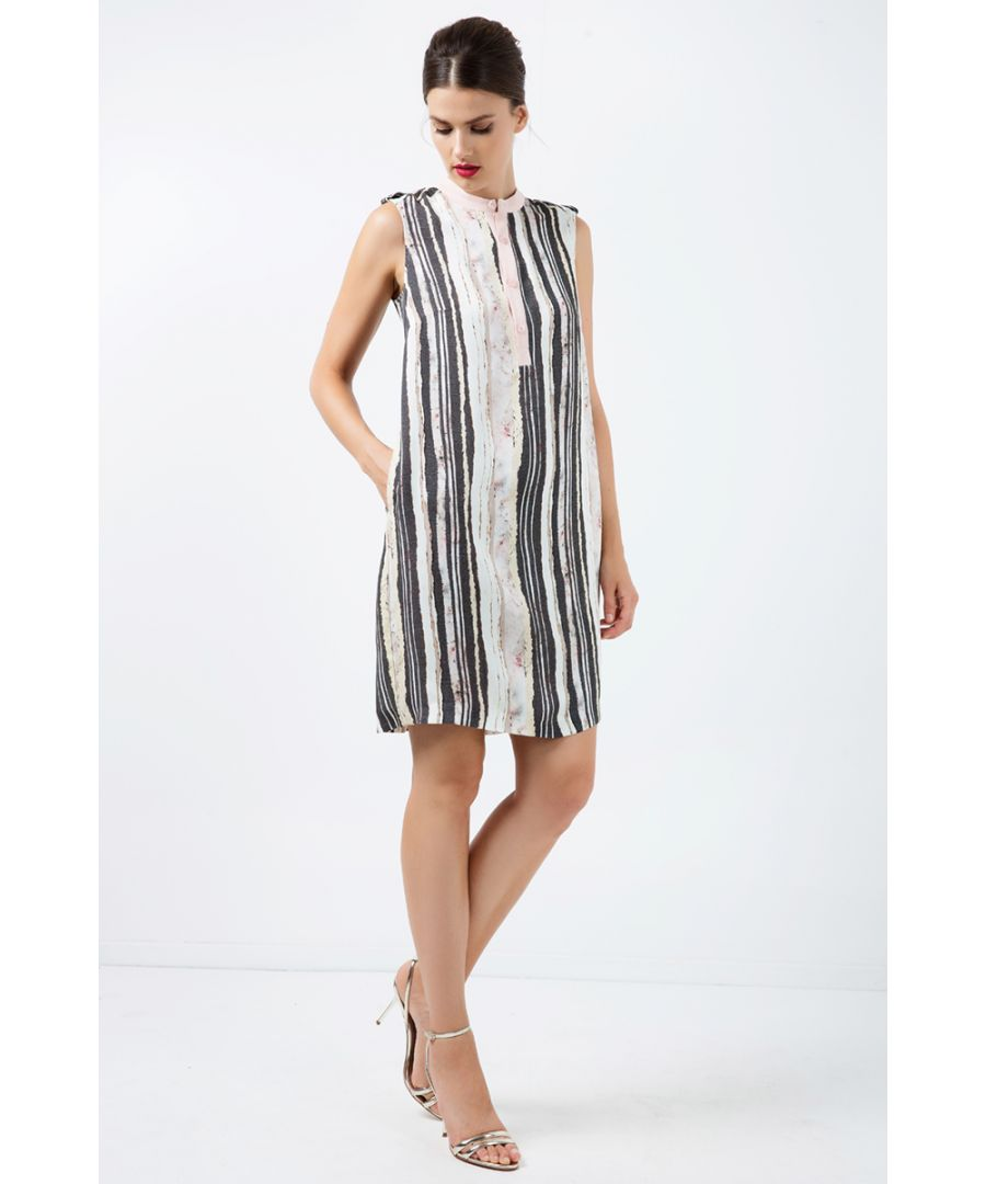 Image for Striped Straight Dress with Button Detail