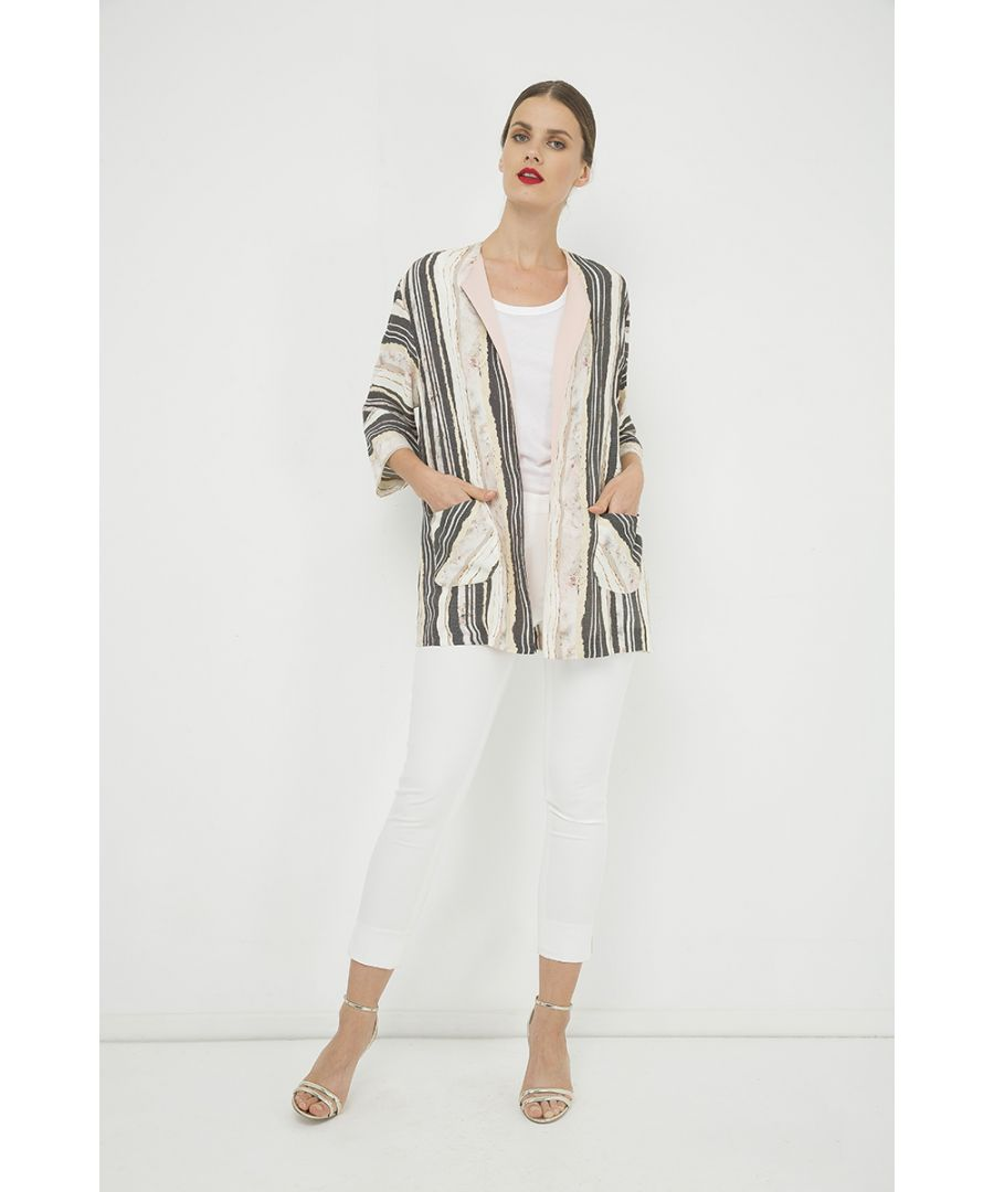 Image for Striped Cardigan with Pocket Detail
