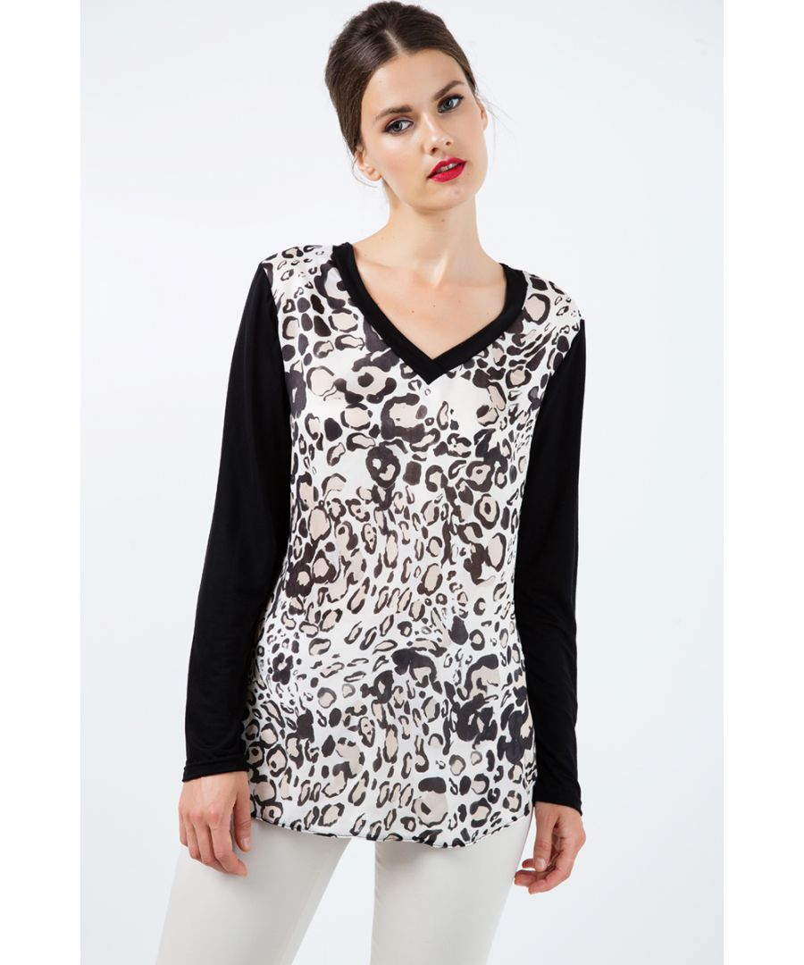 Image for Long Sleeve Print Top with Trim Detail