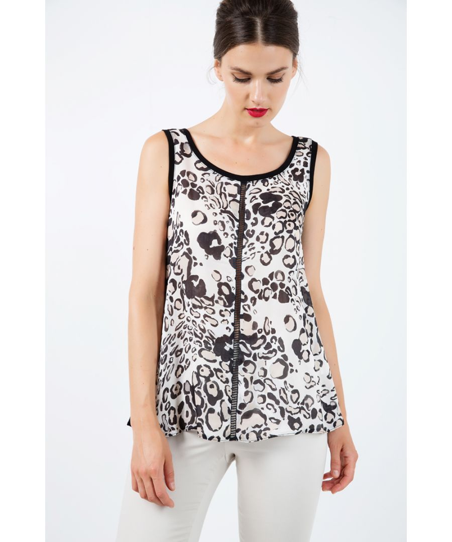Image for V Neck Print Top with Trim Detail