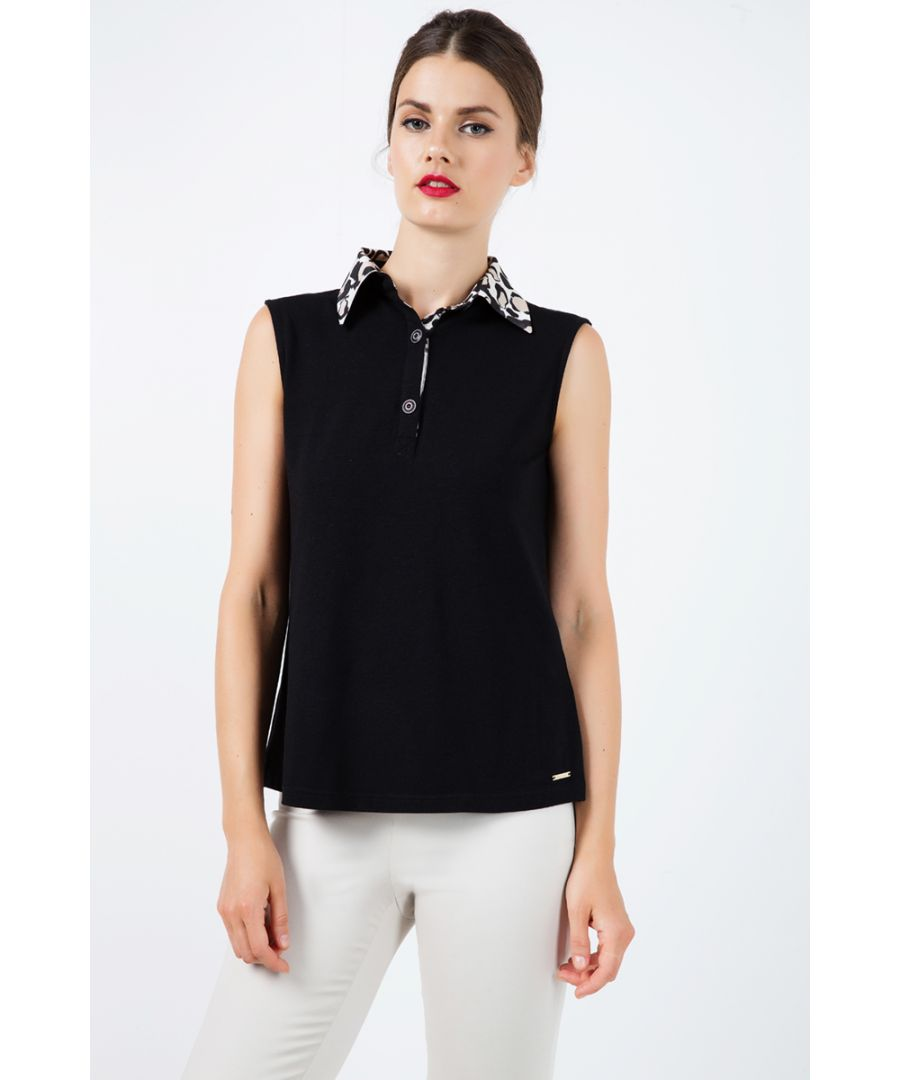 Image for Silk Blend Sleeveless Top with Polo Collar