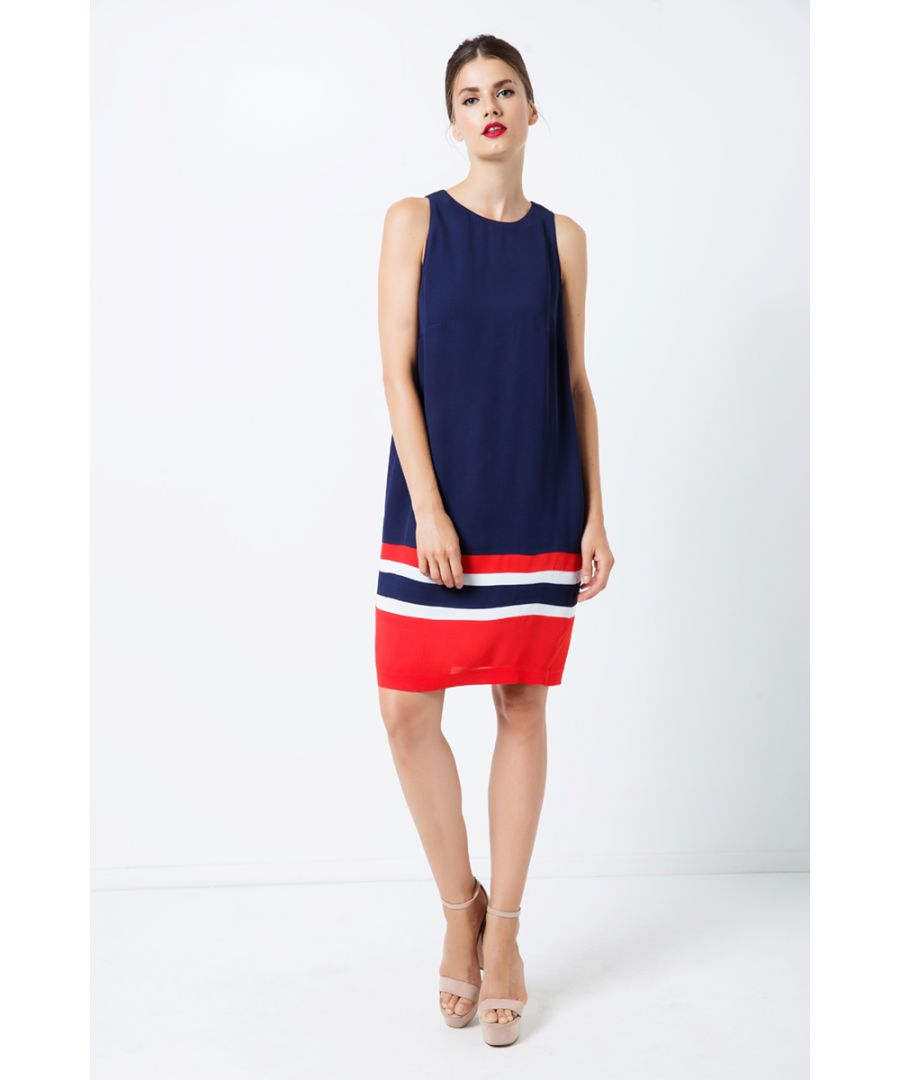 Image for Sleeveless Blue Dress with Multicolour Panel Detail
