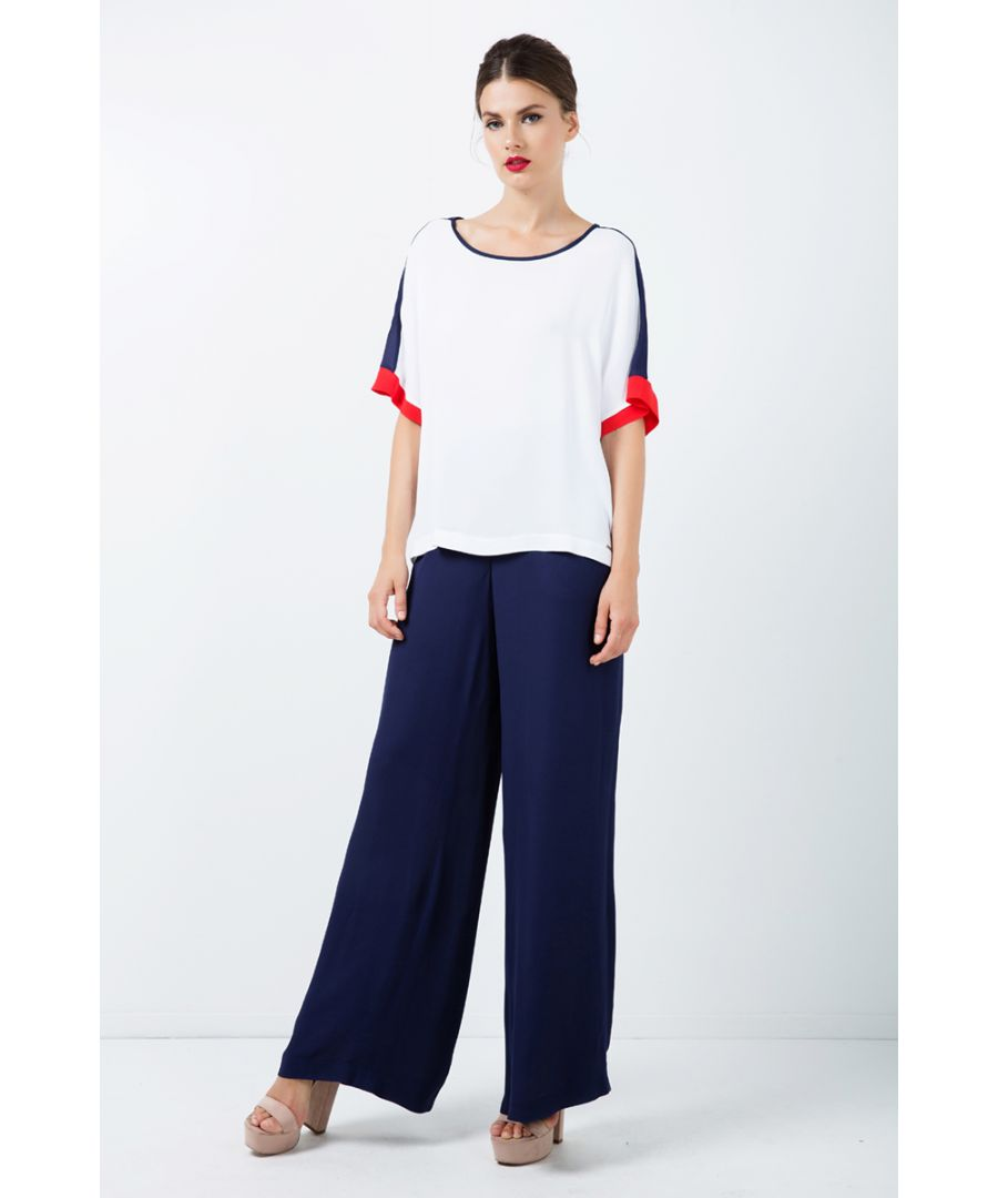 Image for White Short Sleeve Top with Red and Blue Detail