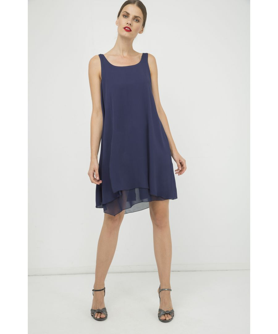 Image for Blue Sleeveless Layer Dress with Slit