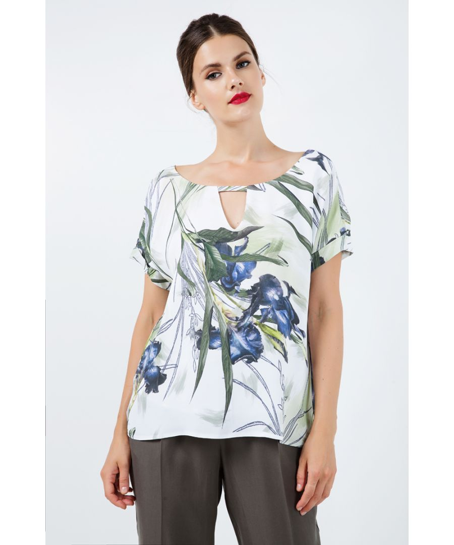 Image for Print Top with V Neck Detail