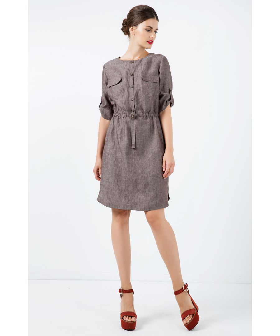 Image for Straight Brown Linen Dress with Belt Detail