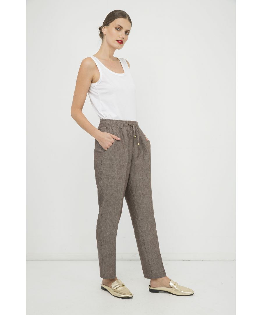 Image for Long Linen Pants with Tie Detail