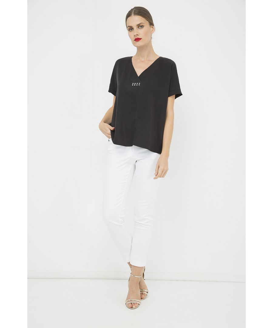 Image for Black V Neck Top with Motif