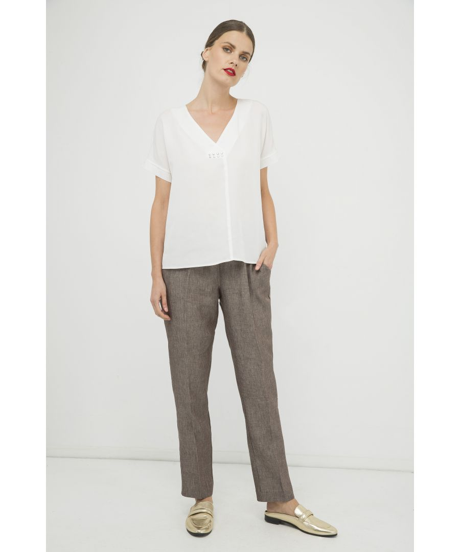 Image for Cream V Neck Top with Metallic Motif