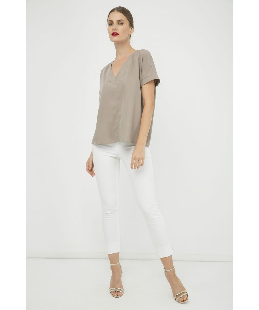 Image for Almond Colour V Neck Top with Metallic Motif