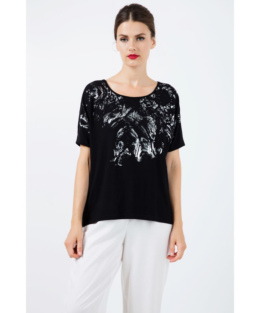 Image for Black Short Sleeve Top with Foil Print