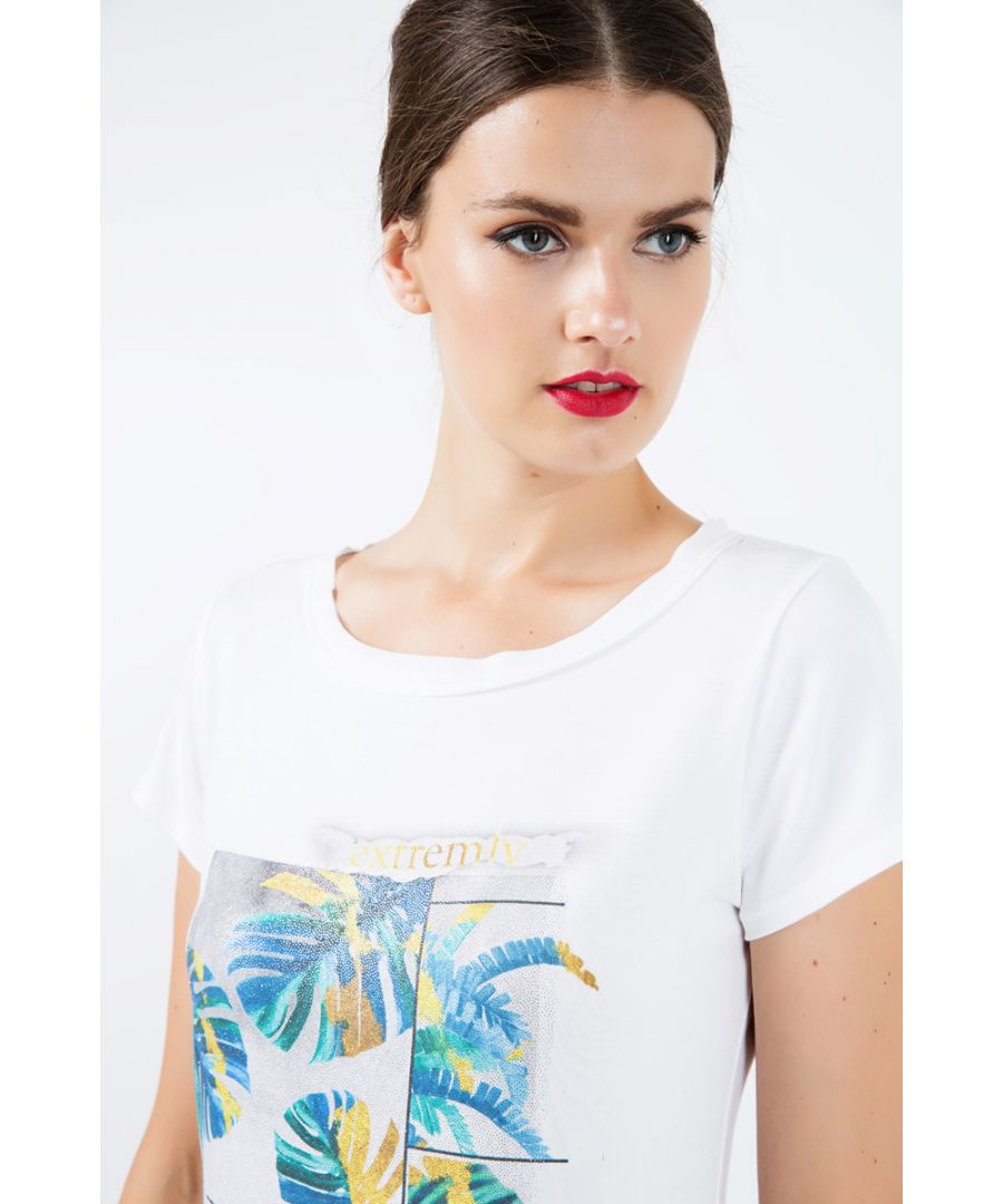 Image for Short Sleeve White Top with Multicoloured Print