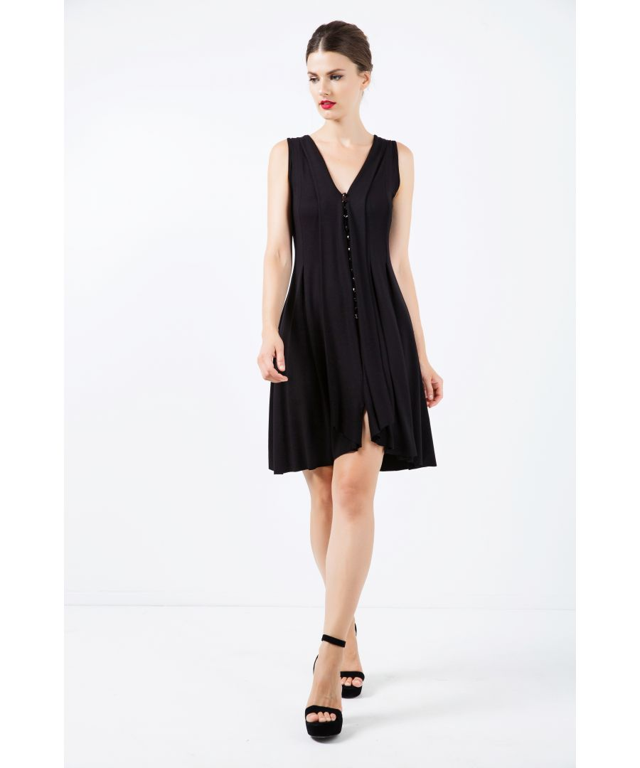 Image for A Line Sleeveless Black Jersey Dress