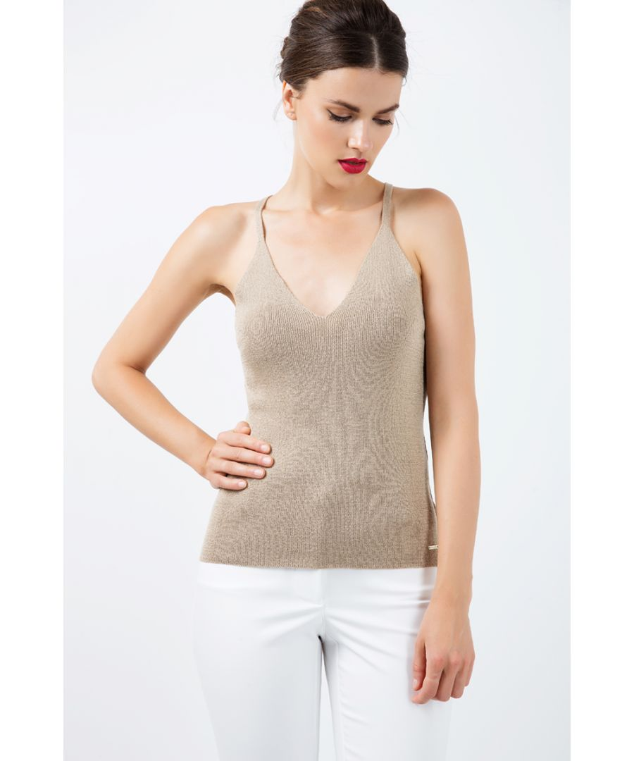 Image for Knit Cross Back Top