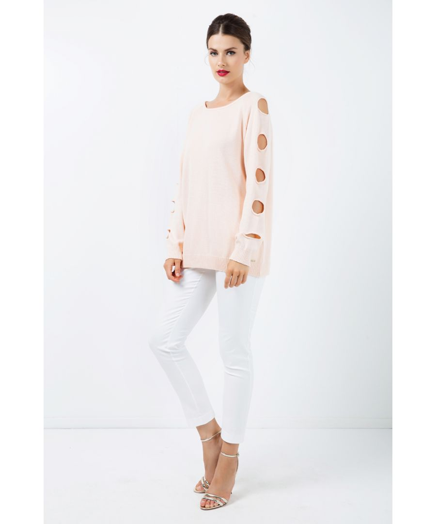 Image for Hole Detail Loose Apricot Sweater