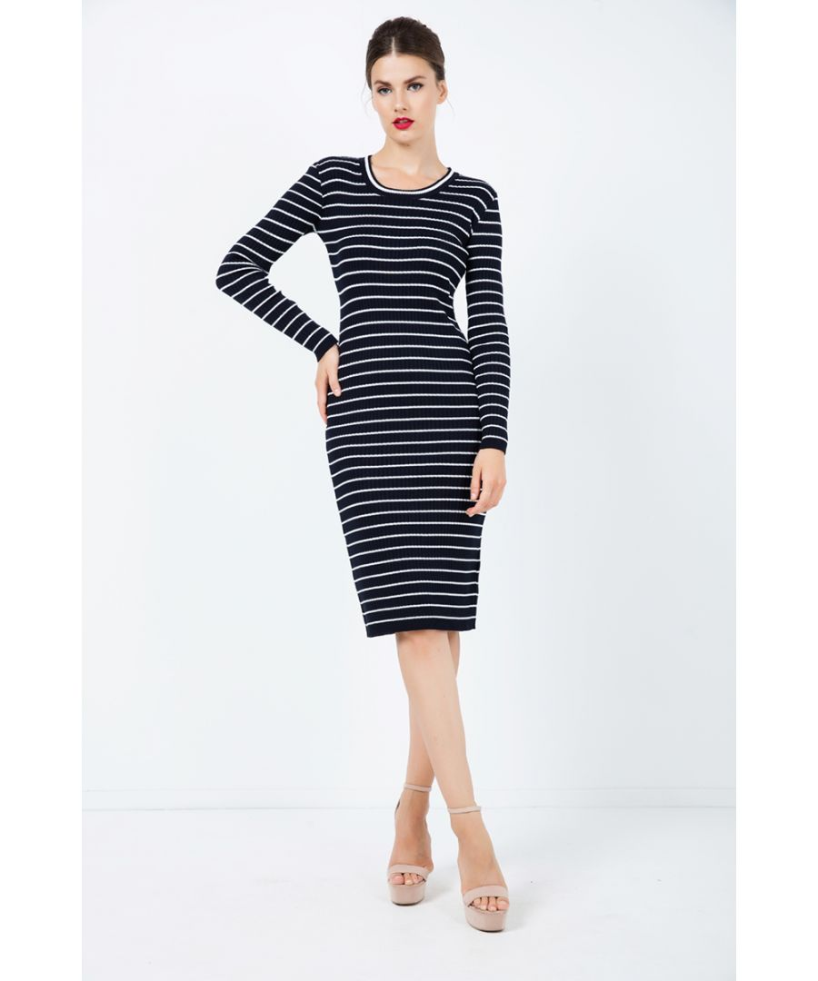 Image for Long Sleeve Striped Fitted Dress