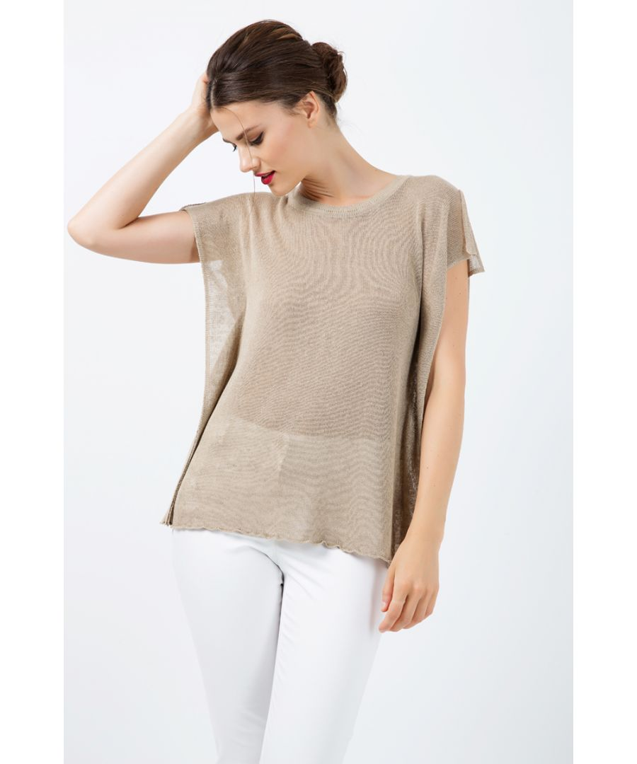 Image for Short Sleeve Semi Sheer Top with Shoulder Slits