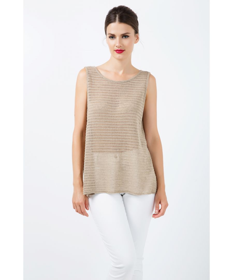 Image for Sleeveless Keyhole Knit Top