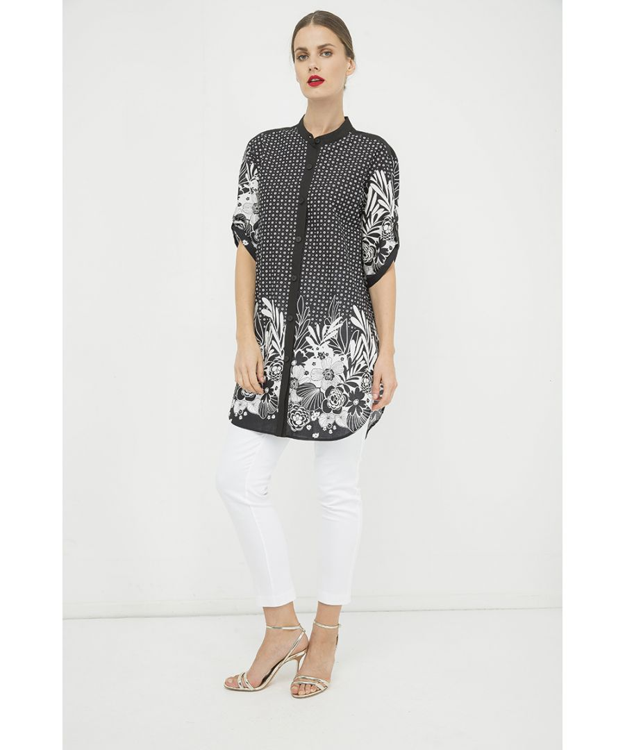 Image for Long Black and White Print Shirt