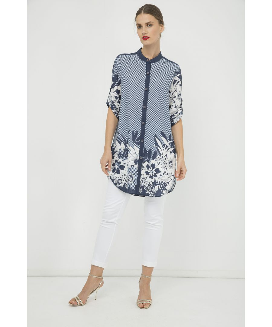 Image for Long Blue and White Print Shirt