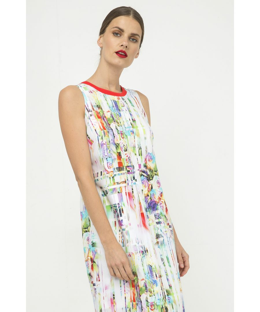 Image for Pleat Detail Sleeveless Print Dress