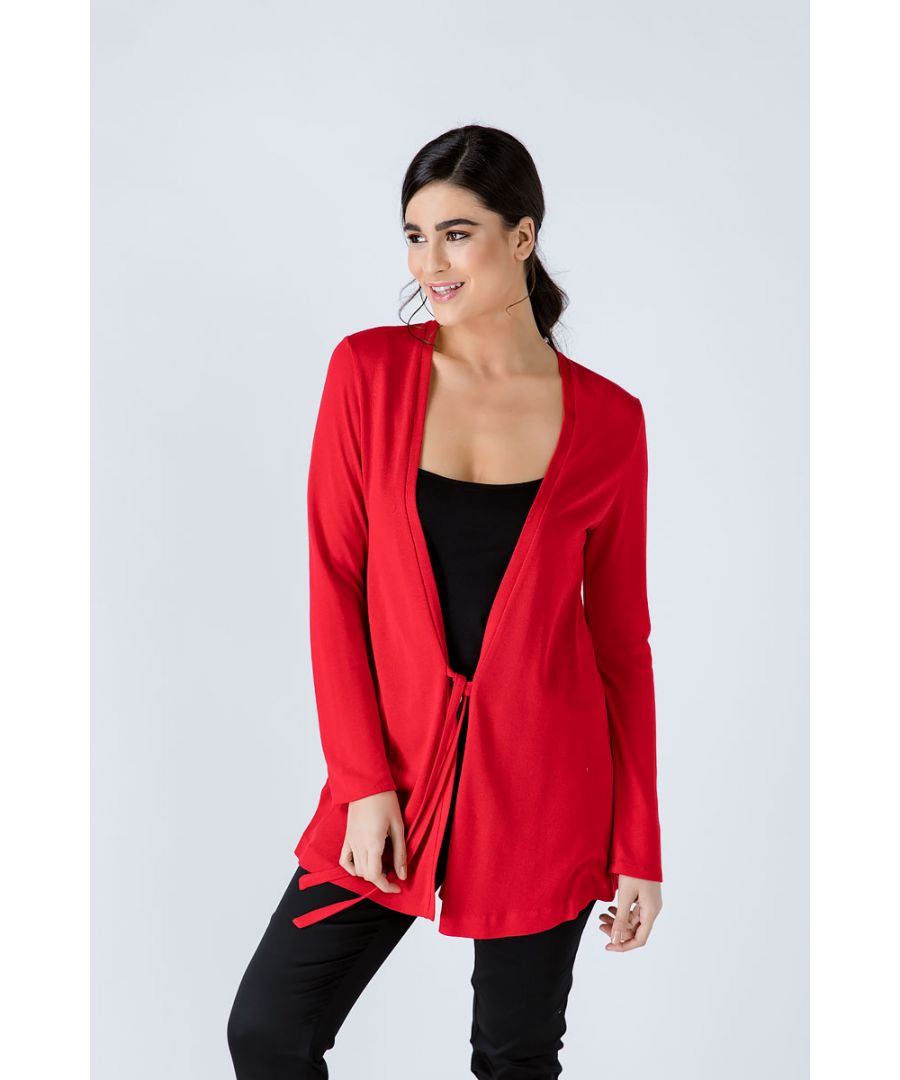 Image for Red Open Front Linen Cardigan