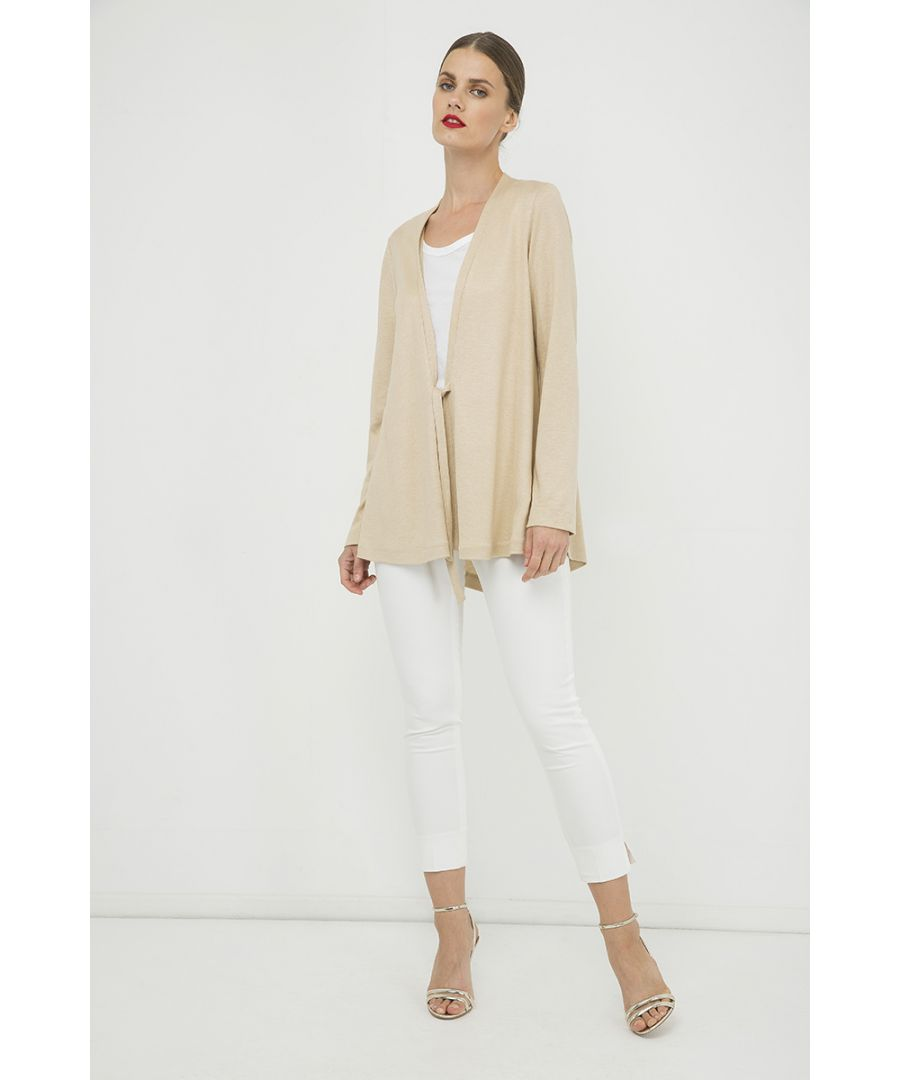 Image for Beige Open Front Linen Cardigan