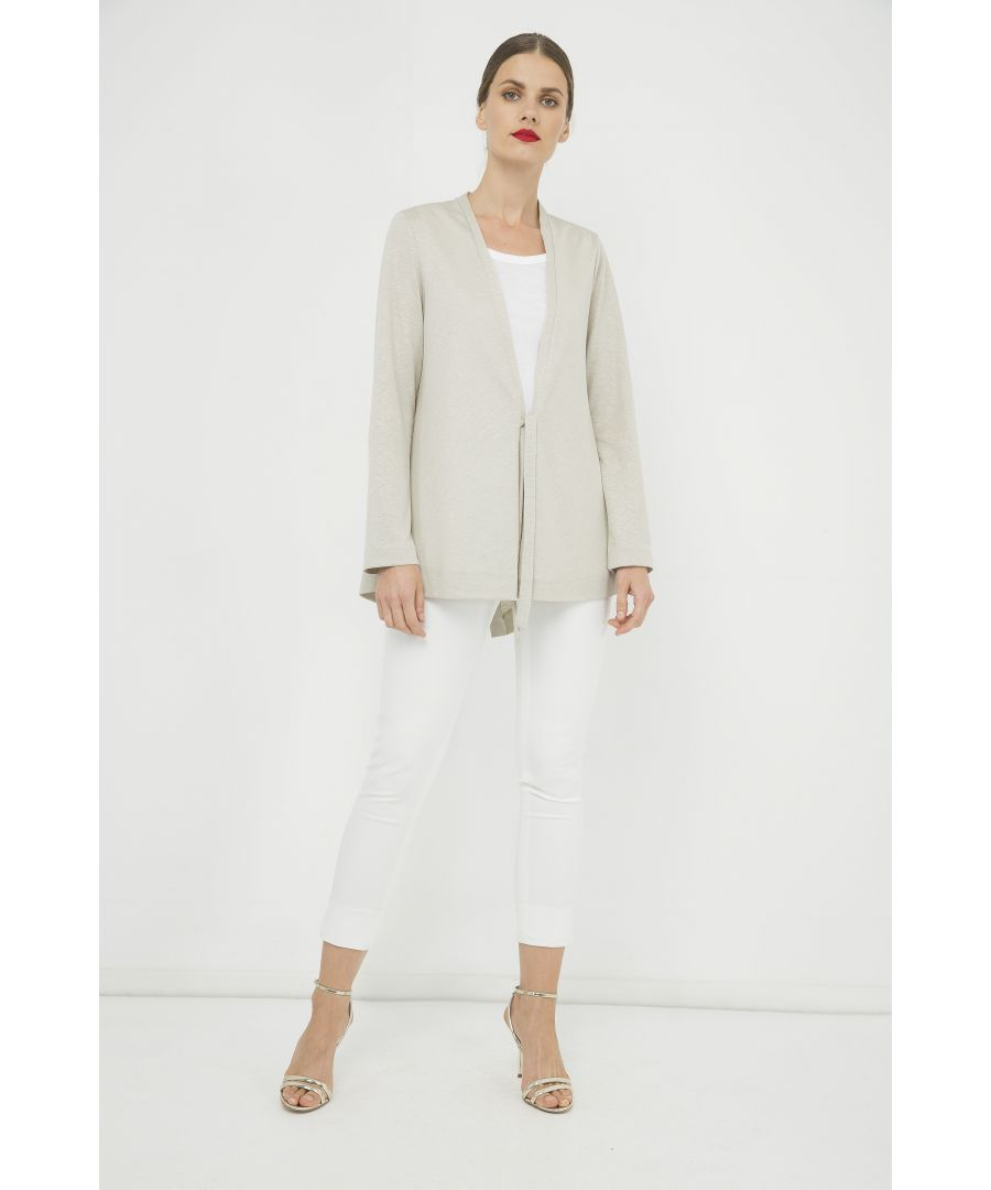 Image for Open Front Linen Cardigan