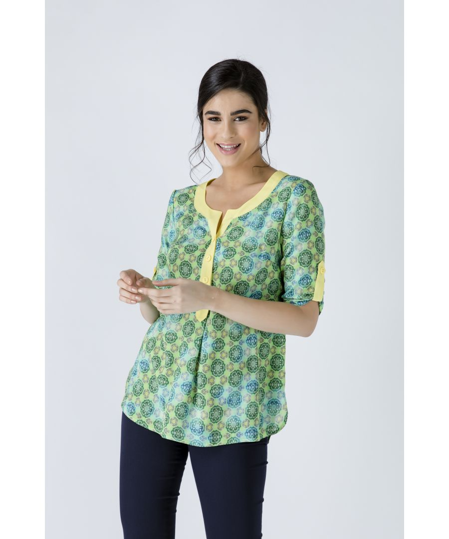 Image for Print Poplin Top with Yellow Trim