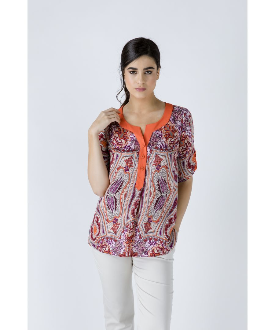 Image for Print Poplin Top with Orange Trim