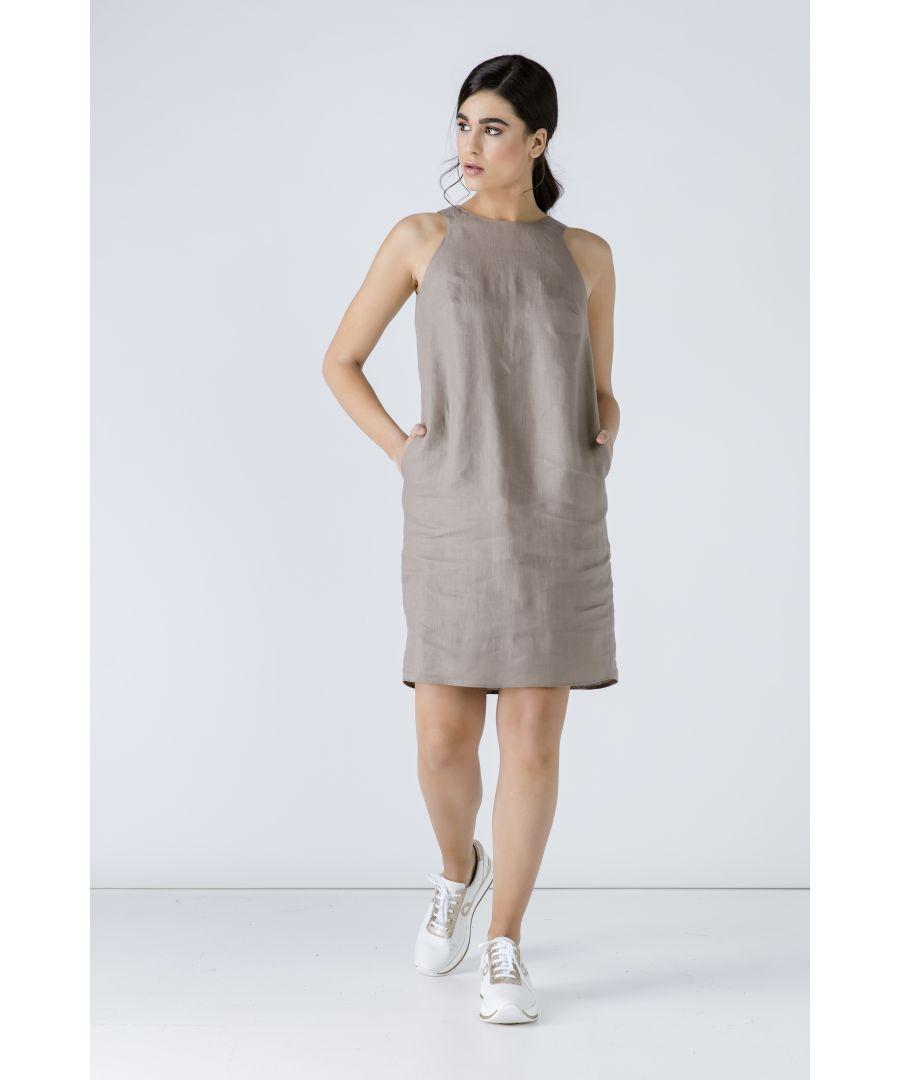 Image for Taupe Sleeveless Sack Dress