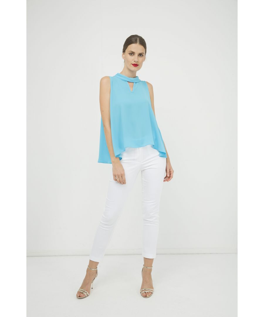 Image for Sleeveless Top with V Detail