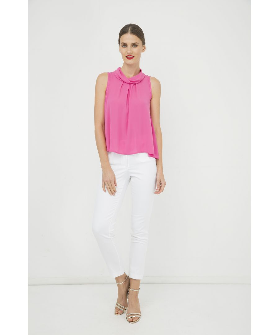 Image for Pink Sleeveless Top with Pleat Detail