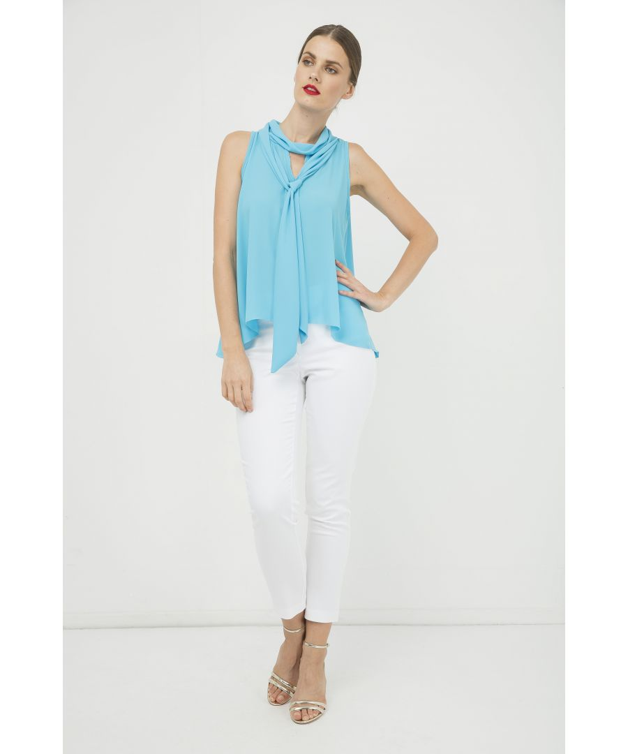 Image for Turquoise Sleeveless Top with Tie Neck