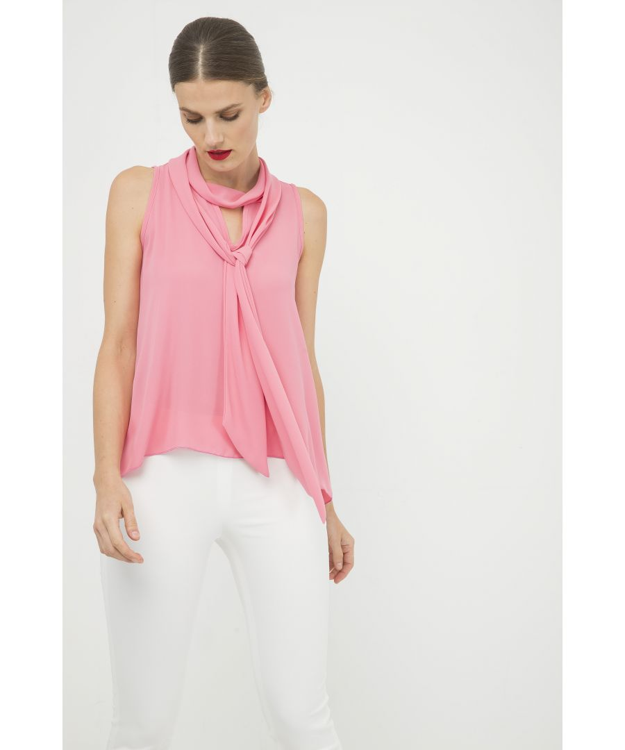 Image for Pink Sleeveless Top with Tie Neck
