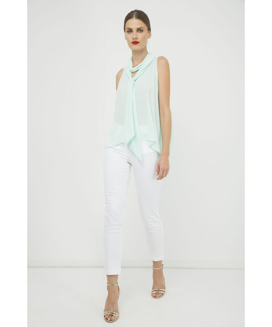 Image for Light Green Sleeveless Top with Tie Neck