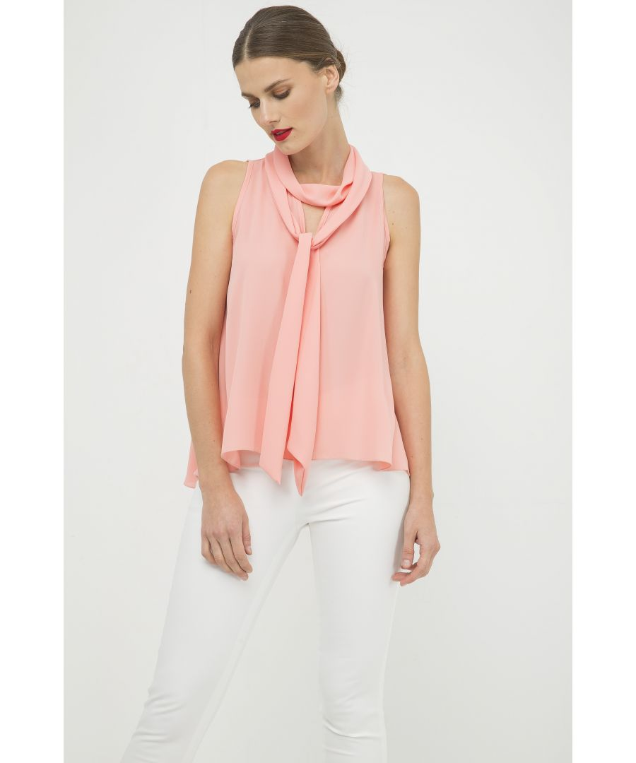 Image for Peach Sleeveless Top with Tie Neck