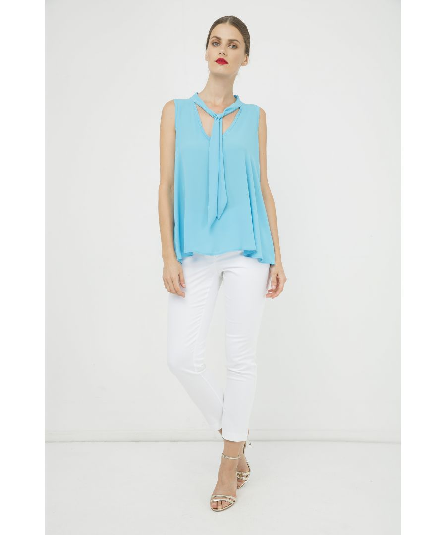 Image for Turquoise Sleeveless Tie Detail Top