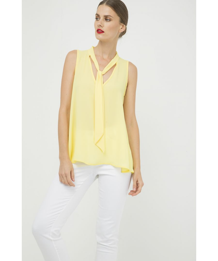 Image for Yellow Sleeveless Tie Detail Top