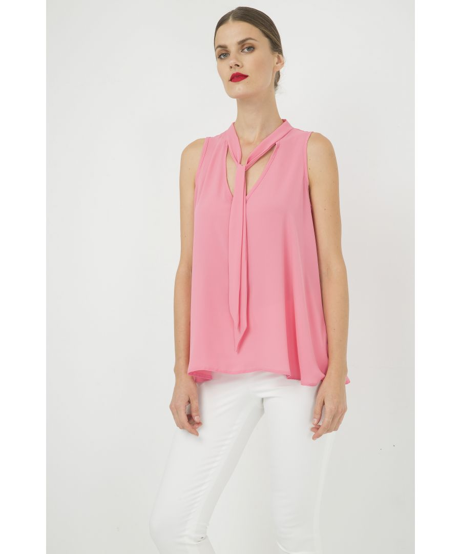 Image for Pink Sleeveless Tie Detail Top