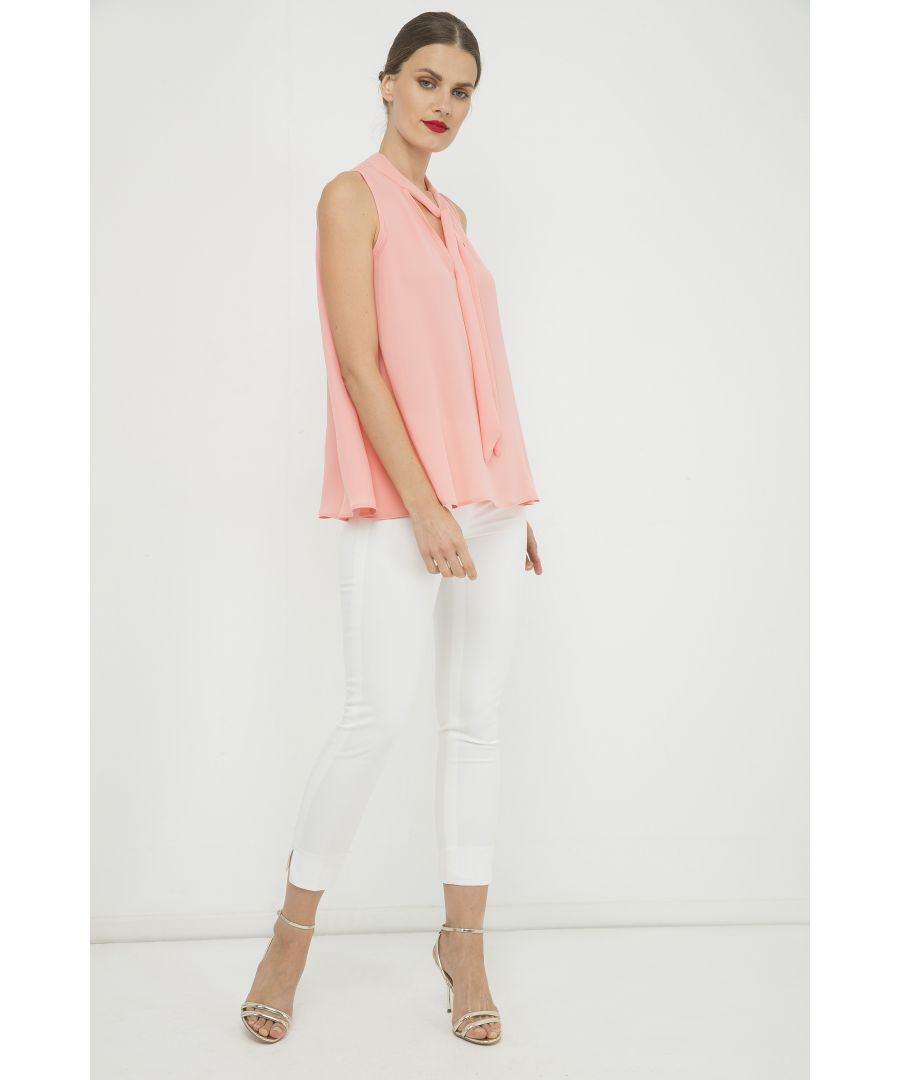 Image for Peach Sleeveless Tie Detail Top