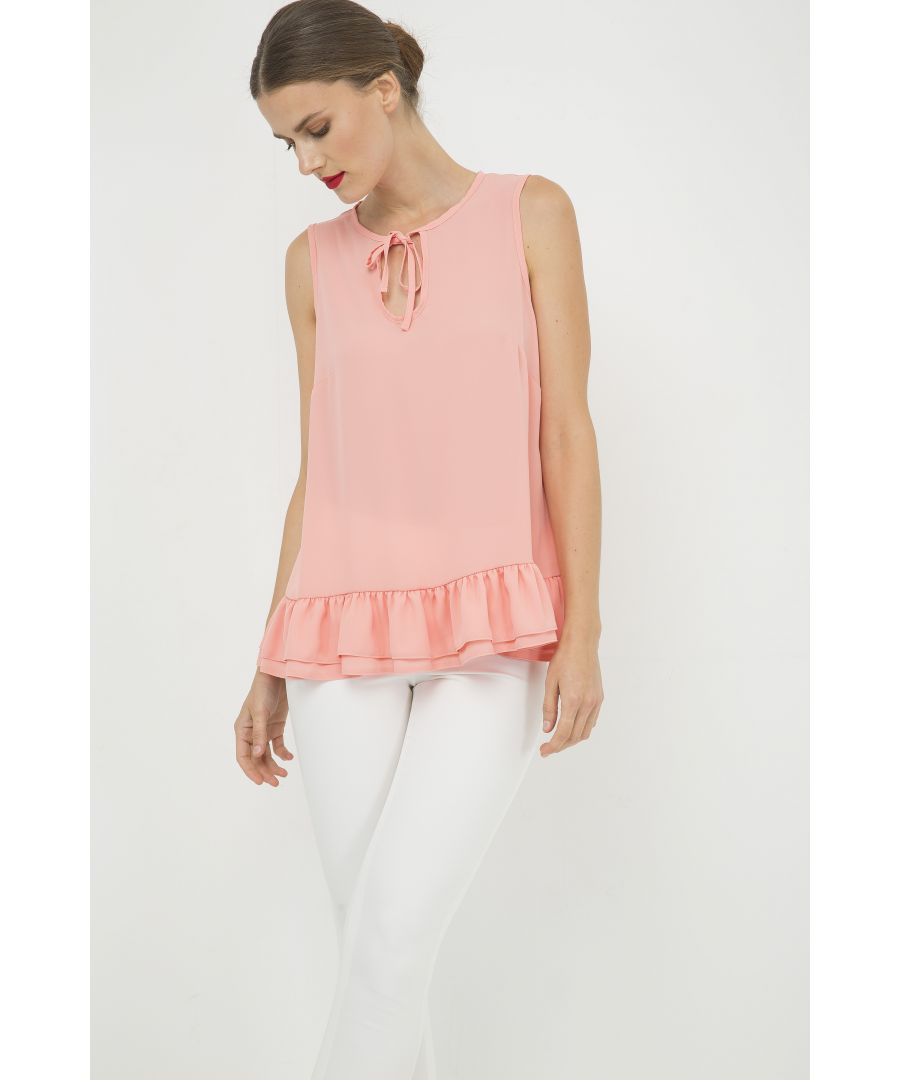 Image for Peach Double Frill Detail Top