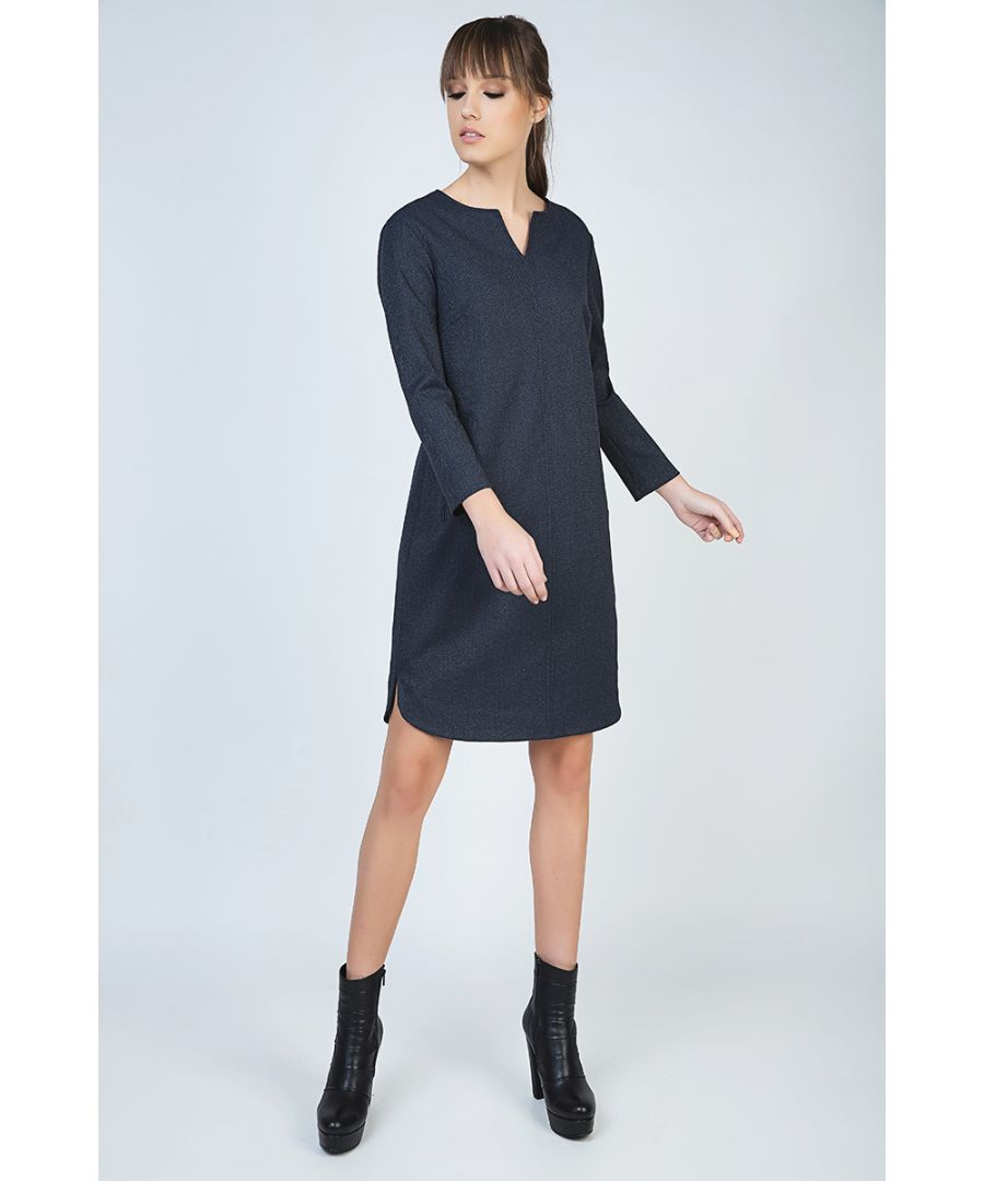 Image for Long Sleeve Dress with Rounded Hemline