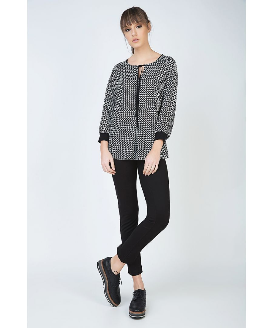Image for Long Sleeve Print Top with Tie and Cuff Detail